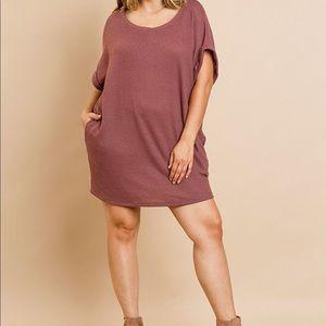 Umgee Waffle Knit T-Shirt Dress 1X